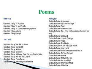 Poems 1906 year Gabdulla Tukay To Pushkin Gabdulla Tukay To My People Gabdul