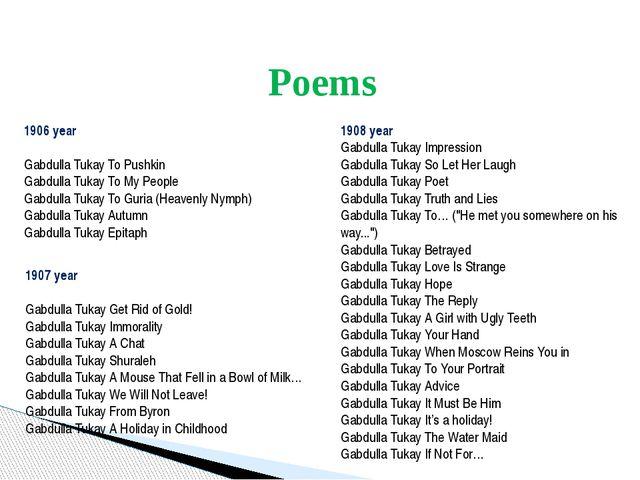 Poems 1906 year Gabdulla Tukay To Pushkin Gabdulla Tukay To My People Gabdul...
