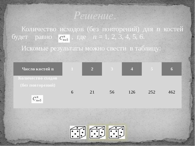 Количество исходов (без повторений) для n костей будет равно , где n = 1, 2,...
