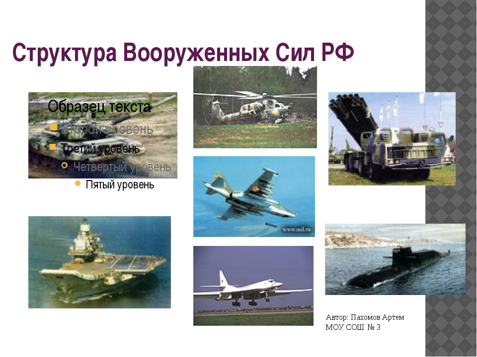 Структура Вооруженных Сил РФ Автор: Пахомов Артем МОУ СОШ № 3