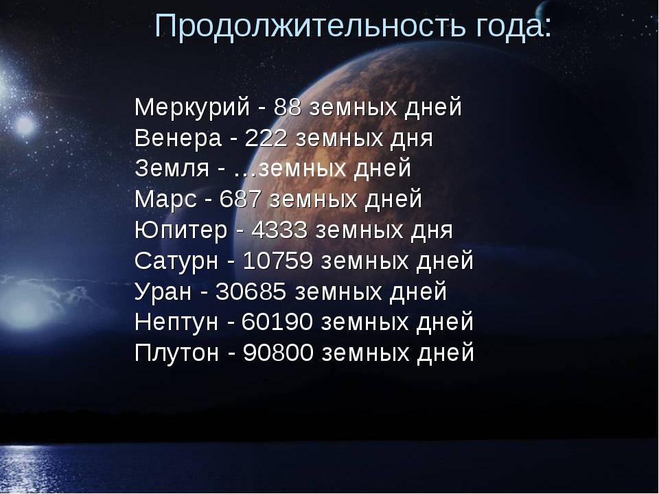 Продолжительность года: Меркурий - 88 земных дней Венера - 222 земных дня Зем...