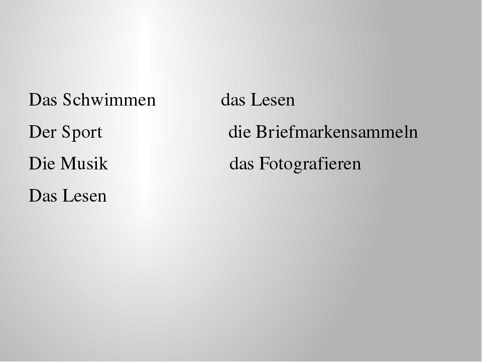 Das Schwimmen das Lesen Der Sport die Briefmarkensammeln Die Musik das Fotog...