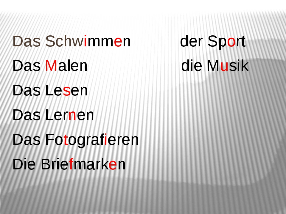 Das Schwimmen der Sport Das Malen die Musik Das Lesen Das Lernen Das Fotogra...