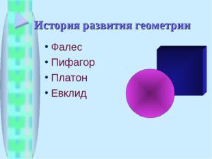 История развития геометрии Фалес Пифагор Платон Евклид