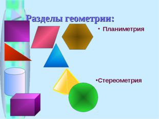 Разделы геометрии: Планиметрия Стереометрия