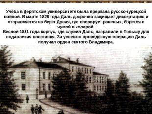Учёба в Дерптском университете была прервана русско-турецкой войной. В марте