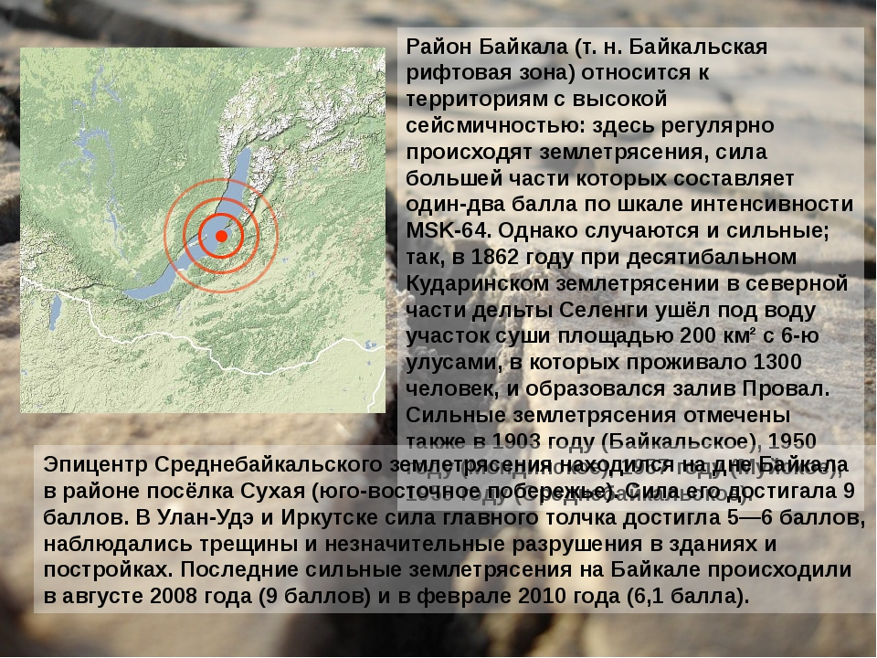 Район Байкала (т. н. Байкальская рифтовая зона) относится к территориям с выс...