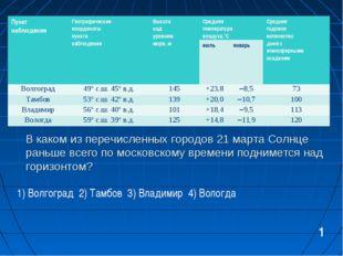 В каком из перечисленных городов 21 марта Солнце раньше всего по московскому