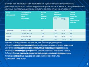 Школьники из нескольких населенных пунктов России обменялись данными о средни