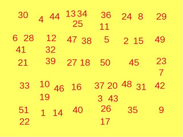 30 21 33 29 39 16 40 5 50 45 35 9 49 1 14 46 48 31 42 44 25 41 6 28 51 22 10...