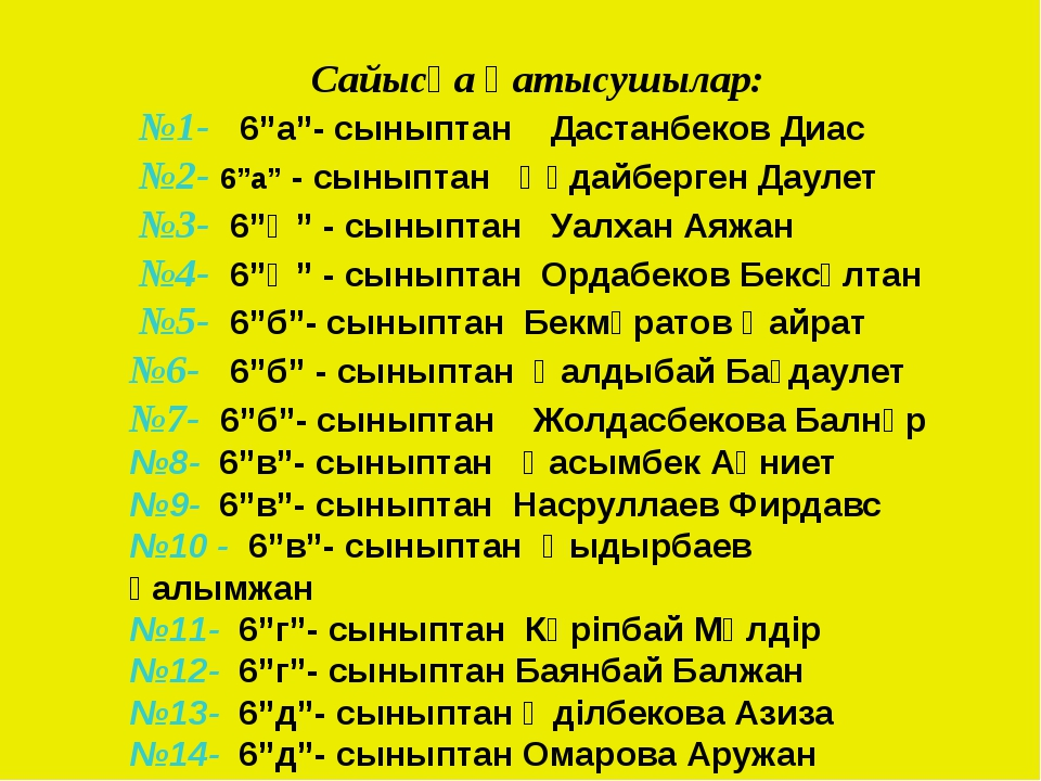 """Сайысқа қатысушылар: №1- 6""""a""""- сыныптан Дастанбеков Диас №2- 6""""a"""" - сыныптан..."""
