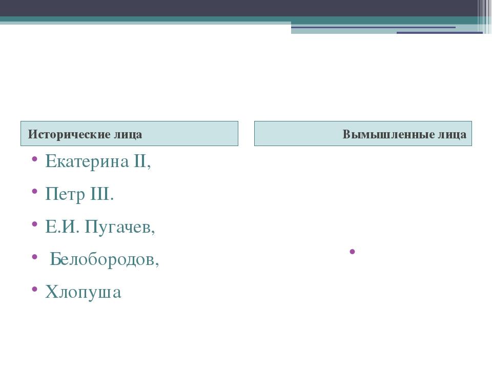 Исторические лица Вымышленные лица Екатерина II, Петр III. Е.И. Пугачев, Бел...