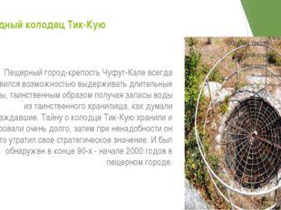 Осадный колодец Тик-Кую Пещерный город-крепость Чуфут-Кале всегда славился во