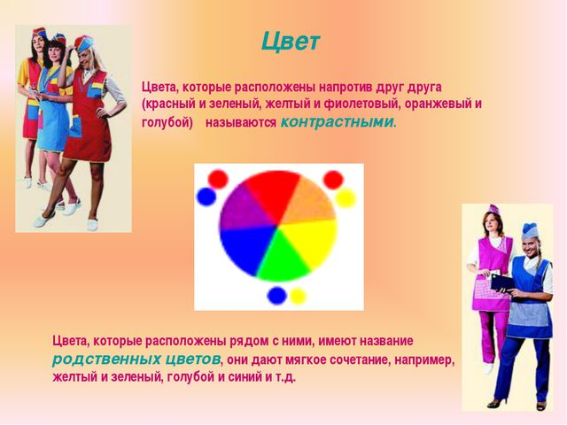 Цвет Цвета, которые расположены напротив друг друга (красный и зеленый, желты...