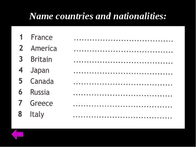 Name countries and nationalities: