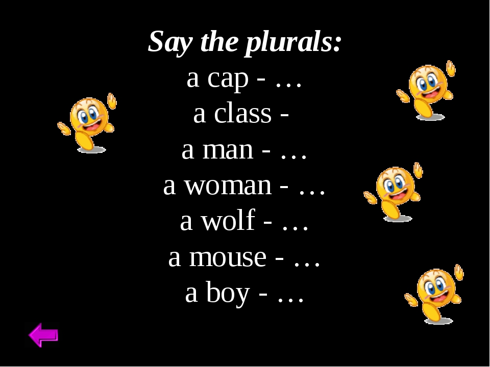Say the plurals: a cap - … a class - a man - … a woman - … a wolf - … a mous...