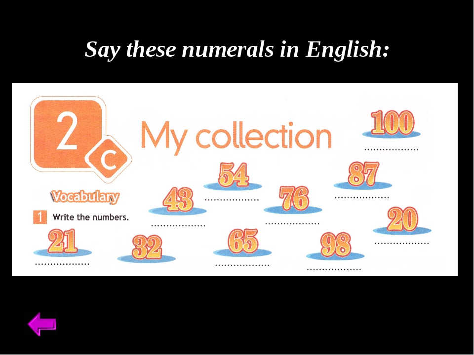 Say these numerals in English: