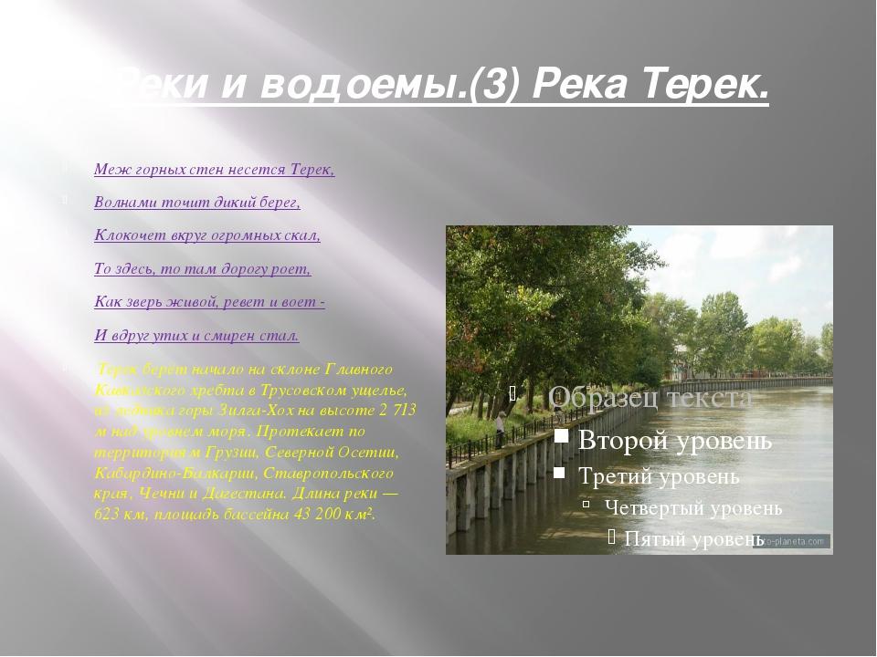 Реки и водоемы.(3) Река Терек. Меж горных стен несется Терек, Волнами точит д...