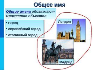 Общие имена обозначают множество объектов город европейский город столичный г