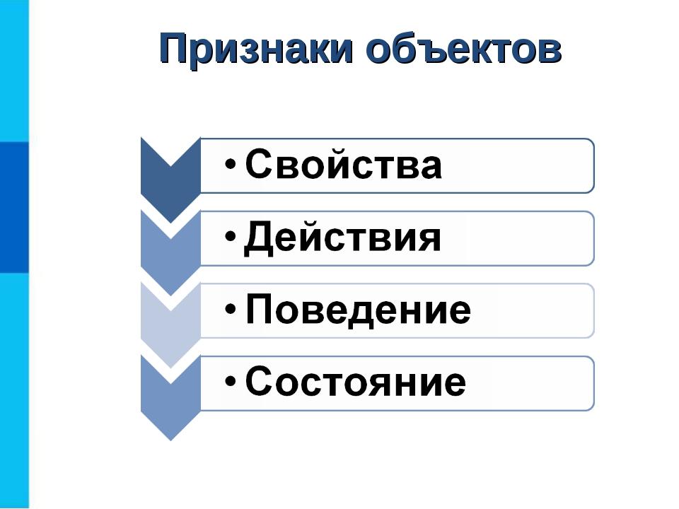 Признаки объектов