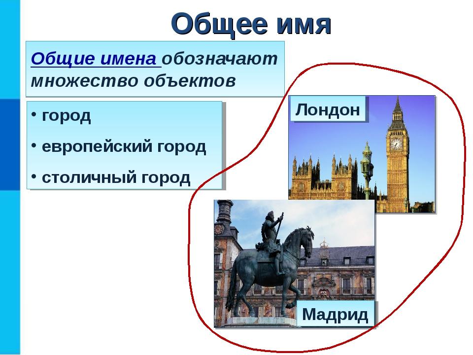 Общие имена обозначают множество объектов город европейский город столичный г...