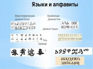 Языки и алфавиты Иероглифические Буквенные Древний Египет Древний Рим