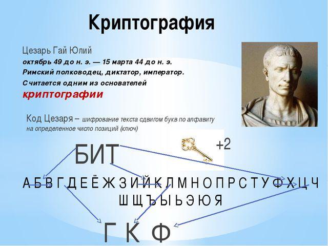 Криптография Цезарь Гай Юлий октябрь49 до н. э.—15 марта44 до н. э. Римск...