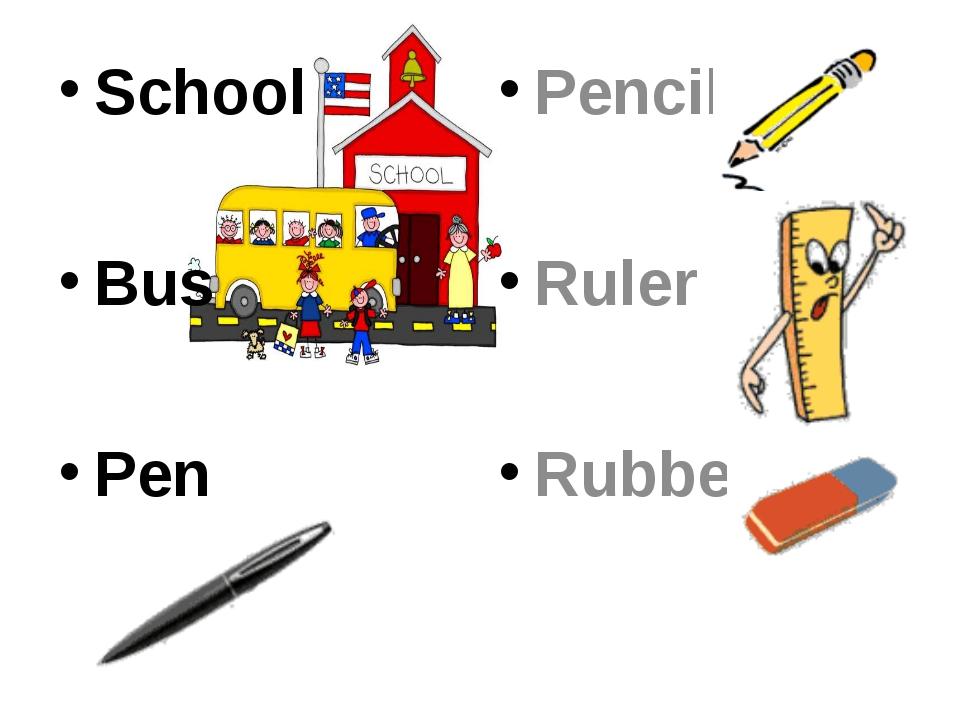 School Bus Pen Pencil Ruler Rubber