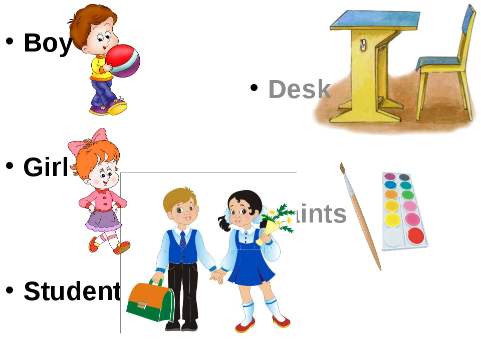 Boy Girl Students Desk Paints