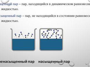 Насыщенный пар – пар, находящийся в динамическом равновесии со своей жидкость