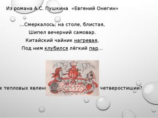 Из романа А.С. Пушкина «Евгений Онегин» …Смеркалось; на столе, блистая, Шипе