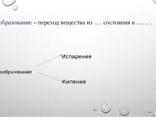 Парообразование – переход вещества из …. состояния в …… . Парообразование Исп
