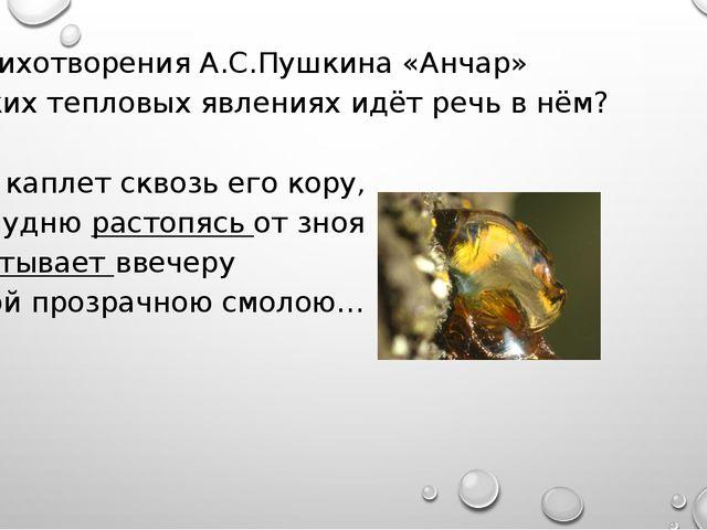 Из стихотворения А.С.Пушкина «Анчар» О каких тепловых явлениях идёт речь в нё...