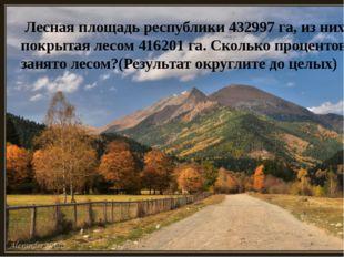 Лесная площадь республики 432997 га, из них покрытая лесом 416201 га. Скольк