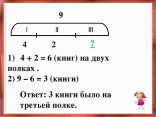 | || ||| 4 2 ? 9 4 + 2 = 6 (книг) на двух полках . 2) 9 – 6 = 3 (книги) Ответ