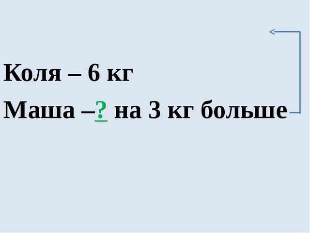 Коля – 6 кг Маша –? на 3 кг больше
