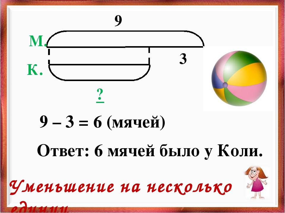 9 3 ? М. К. 9 – 3 = 6 (мячей) Ответ: 6 мячей было у Коли. Уменьшение на неско...