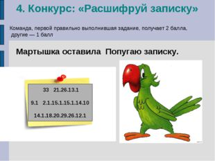 4. Конкурс: «Расшифруй записку» Мартышка оставила Попугаю записку. 33 21.26.1
