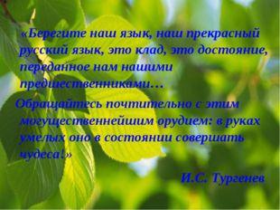 И.С. Тургенев «Берегите наш язык, наш прекрасный русский язык, это клад, это