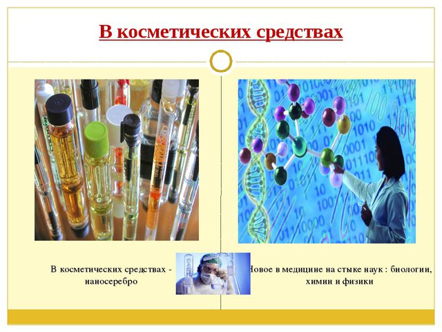В косметических средствах Новое в медицине на стыке наук : биологии, химии и...