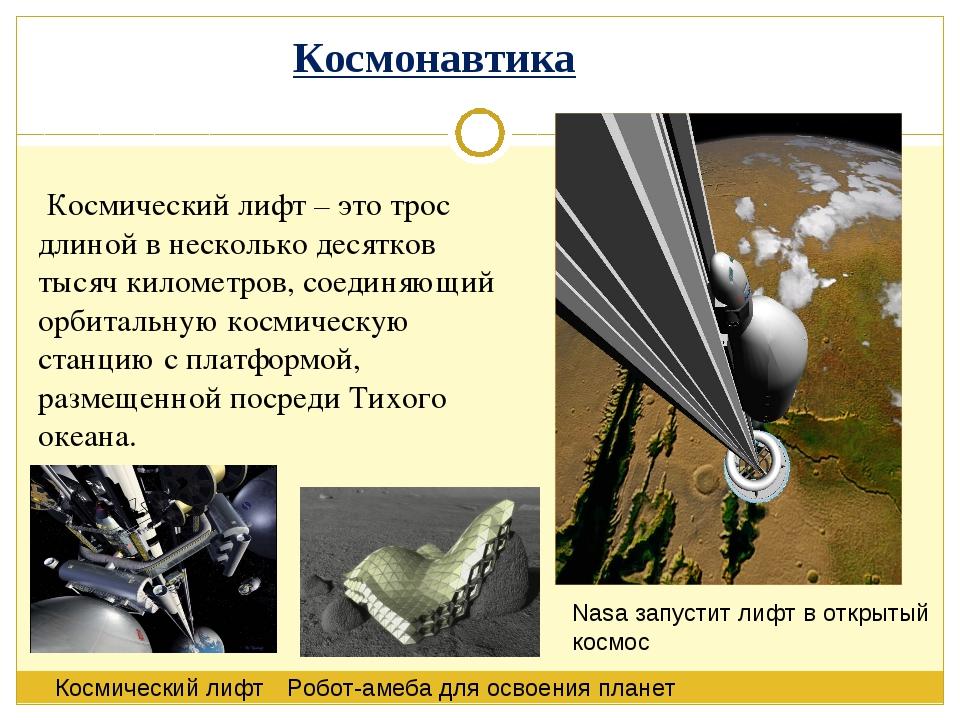Космический лифт – это трос длиной в несколько десятков тысяч километров, со...