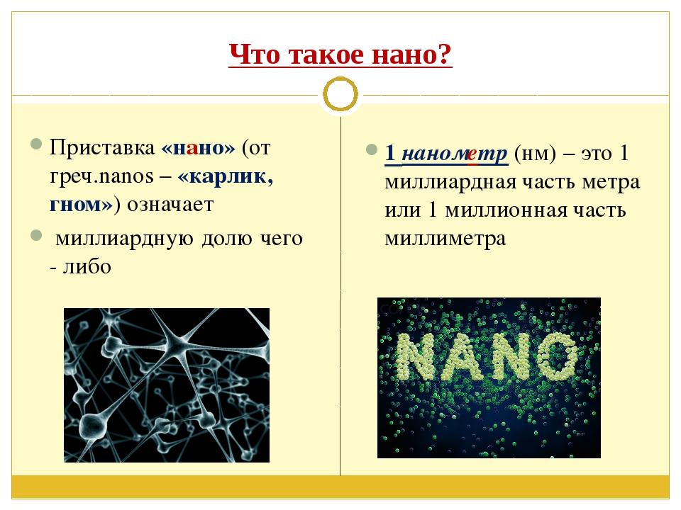 Что такое нано? Приставка «нано» (от греч.nanos – «карлик, гном») означает ми...