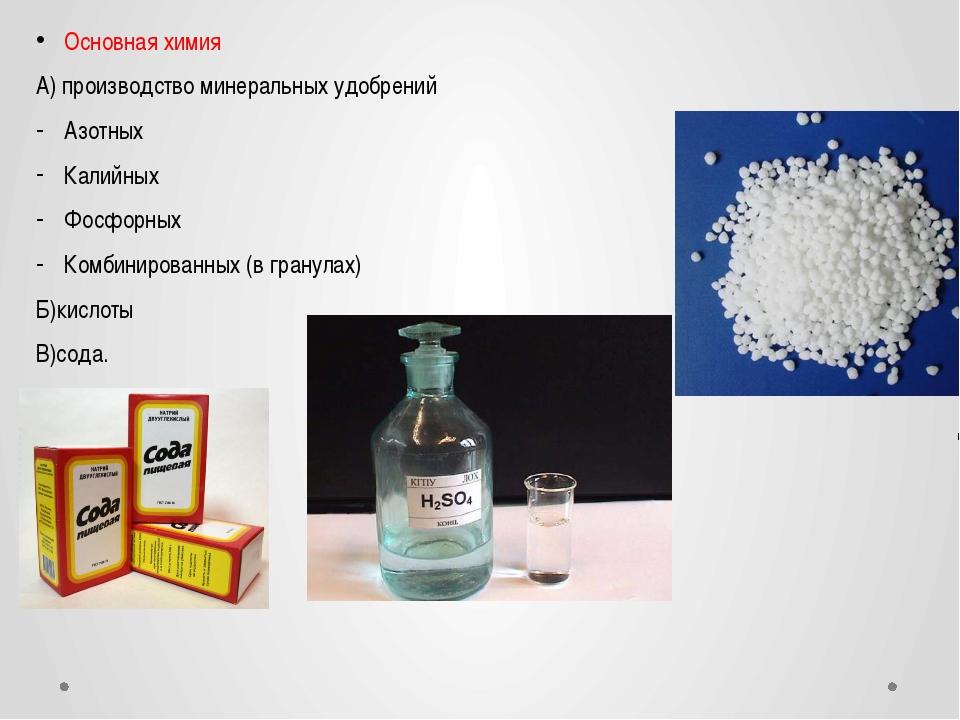 Основная химия А) производство минеральных удобрений Азотных Калийных Фосфорн...