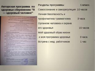 """Авторская программа по здоровье сбережению """"Я — здоровый человек!"""" Разделы пр"""