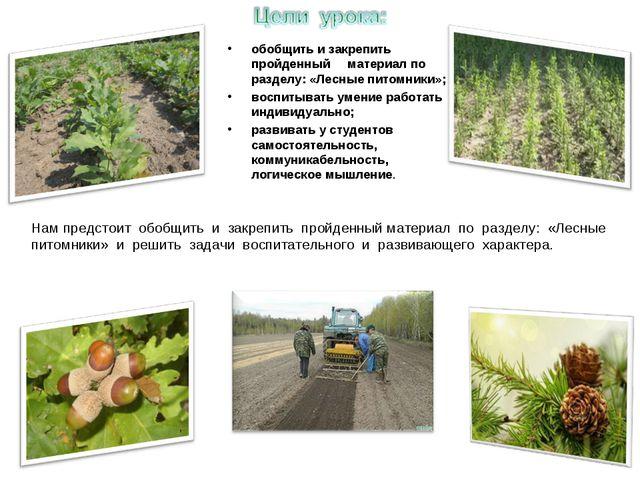 обобщить и закрепить пройденный материал по разделу: «Лесные питомники»; восп...