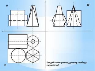 V H W Қандай геометриялық денелер сызбада көрсетілген?