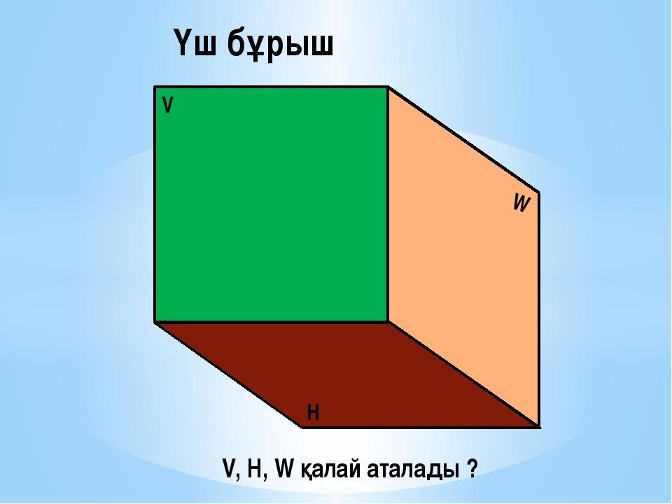 V W H Үш бұрыш V, H, W қалай аталады ?