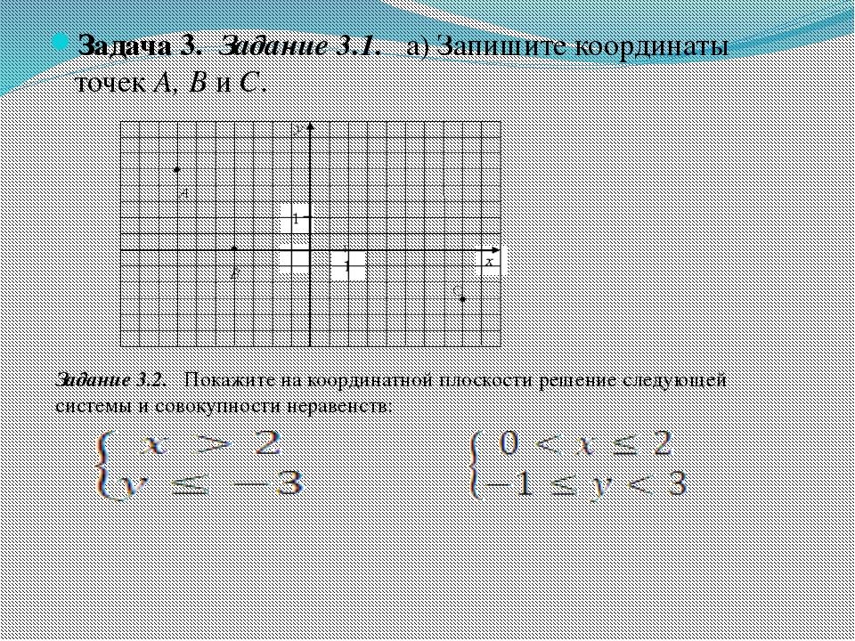 Задача 3. Задание 3.1. а) Запишите координаты точекА, ВиС. Задание 3.2. По...