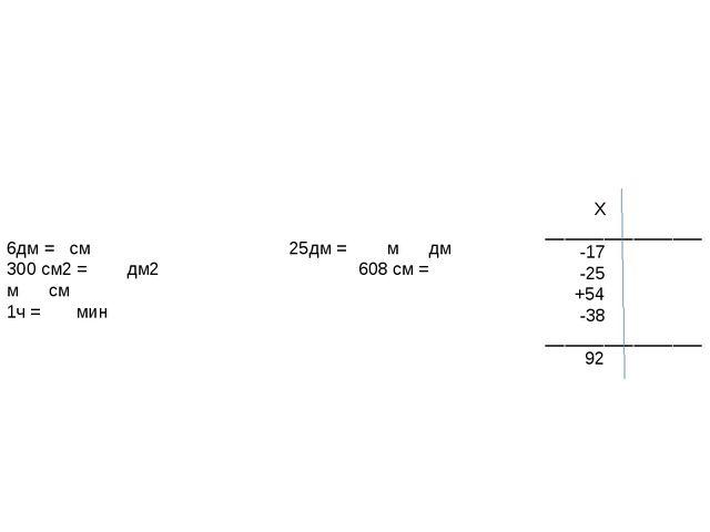6дм = см 25дм = м дм 300 см2 = дм2 608 см = м см 1ч = мин Х ________________...