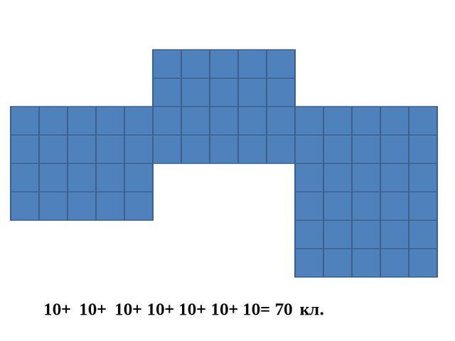 10+ 10+ 10+ 10+ 10+ 10+ 10= 70 кл.